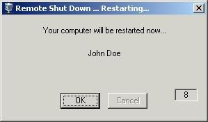RemoteShutdown Main screen