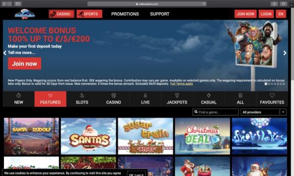 mako casino screen